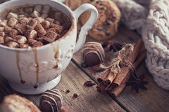 Christmas or New Year composition with hot chocolate or cocoa an Royalty Free Stock Photos