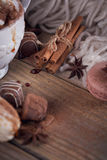 Christmas or New Year composition with hot chocolate or cocoa an Stock Photos