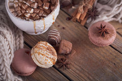 Christmas or New Year composition with hot chocolate or cocoa an Royalty Free Stock Photo