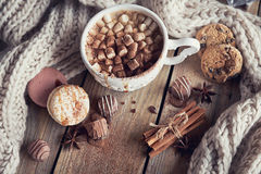 Christmas or New Year composition with hot chocolate or cocoa an Stock Images