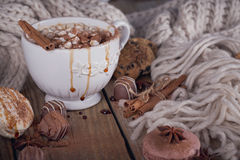 Christmas or New Year composition with hot chocolate or cocoa an Royalty Free Stock Image