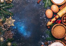 Christmas or New Year composition with ingredients for baking or royalty free stock images