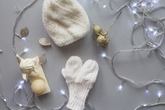 Christmas and New Year composition, studio shot, grey background royalty free stock photos