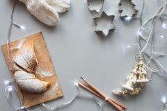 Christmas and New Year composition, studio shot, grey background Stock Photos