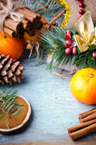 Christmas, New Year Composition with Tangerines, Fir Tree, Pine cones, Cinnamon and Candy Canes. Shiny Holiday Royalty Free Stock Image