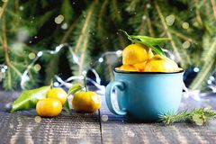 Christmas new year composition with tangerines wooden background holiday decoration to russian tradition cup of citrus fir branche Stock Photos