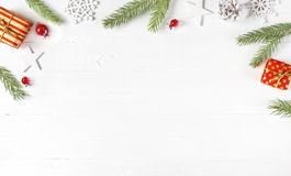 Christmas and New Year composition on white wooden table. stock images