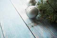 Christmas and New Year composition on wooden background with place for your text Stock Photography