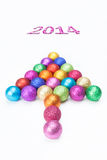 Christmas and new year concept. Colorful christmas tree with many balls as a directional signal Stock Photos