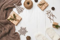 Christmas and new year concept with copyspace in center. Different decoration. Flat lay, top view stock photos