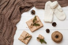 Christmas and new year concept. Different decoration. Flat lay, top view stock images