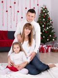 Christmas and New year concept - family with decorated Christmas Royalty Free Stock Photos