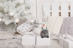 Christmas and New Year 2017 concept gift box soft toy snowman,  trees Royalty Free Stock Photos
