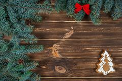 . Christmas and New Year concept. Christmas holiday background with vintage alarm-clock, Candy canes wooden background. Close-up, top view. Christmas and New royalty free stock images