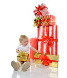 Christmas new year concept. infant child baby toddler kid prepar Royalty Free Stock Image