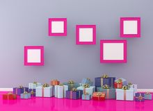 Christmas and New Year concept picture frame with gift box set o. N pink room interior background. for copy space and website. minimal concept.  Merry Christmas Stock Images