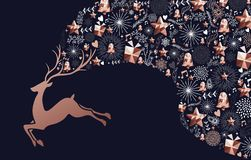 Christmas and New Year copper deer decoration card Stock Illustration
