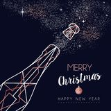 Christmas and New Year copper line greeting card royalty free illustration