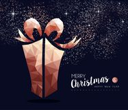 Christmas and New Year copper low poly gift card royalty free illustration