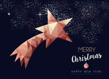 Christmas and new year copper luxury greeting card stock illustration