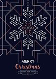 Christmas and New Year copper outline snow card vector illustration