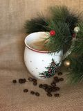 Christmas ( New Year ) cup of coffee Stock Photography