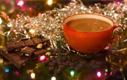 Christmas (new Year) Cup Of Coffee Stock Photos