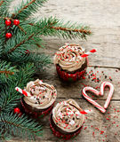 Christmas and New Year cupcakes - chocolate cakes with cream, sp Royalty Free Stock Photo