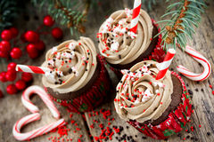 Christmas and New Year cupcakes - chocolate cakes with cream, sp Royalty Free Stock Image