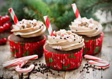 Christmas and New Year cupcakes - chocolate cakes with cream, sp Stock Photo