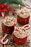 Christmas and New Year cupcakes - chocolate cakes with cream, sp Stock Photos