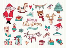 Christmas new year cute doodle cartoon collection Royalty Free Stock Photo