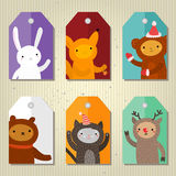 Christmas and New Year cute gift tags. Christmas and New Year cute gift tags with cartoon animals. Flat design, vector illustration vector illustration