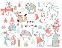 Christmas and New Year. Cute set with cute hand-drawn animals. Vector illustration. royalty free illustration
