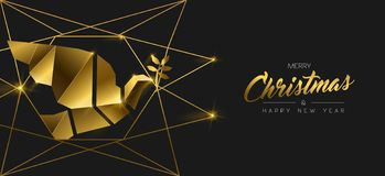 Christmas and New Year 3d gold dove bird banner. Merry Christmas and Happy New Year luxury golden web banner illustration, peace dove ornament made of solid gold stock illustration