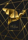 Christmas and New Year 3d luxury gold bird card. Merry Christmas and Happy New Year luxury golden greeting card illustration, peace dove ornament made of solid stock illustration