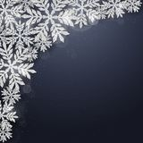Christmas silver glittering snowflakes background Stock Images