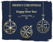 Christmas and New Year dark blue background Stock Photo