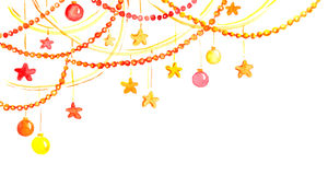 Christmas or new year decor - garland frame, Watercolor Royalty Free Stock Photo