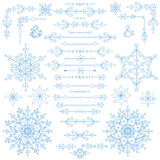 Christmas,New year decor set.Winter borders,elements. Christmas,New year decoration set.Doodles border,arrows and hearts,Snowflakes decor elements.For design Stock Photography