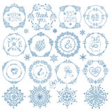 Christmas,New year decor set.Winter  circle frames. Christmas,New year decor elements set.Circle frames wreaths.Doodles snowflakes,wishes.For winter templates Stock Image
