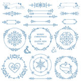 Christmas,New year decor set.Winter  wreath frames. Christmas,New year decor elements set.Circle frame wreath.Doodles border and arrows.For design templates Royalty Free Stock Photo