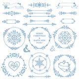 Christmas,New year decor set.Winter  wreath frames Royalty Free Stock Photo