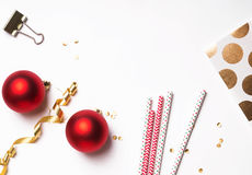 Christmas and New Year decor on the white Stock Image