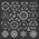 Christmas,New year decor.Winter circle frames set. Christmas,New year decoration elements set.Circle frames wreaths.Doodles snowflakes and wishes.For winter Royalty Free Stock Photography
