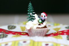 Christmas or new year decorated cupcake Stock Photo