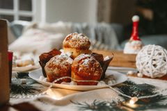 Christmas New Year decorated cupcakes on a table stock photo
