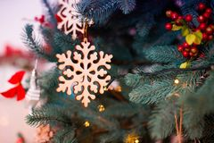 Christmas and New Year decorated interior room with presents and New year tree stock photo