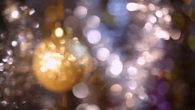 Christmas and New Year Decoration. Abstract Blurred Bokeh Holiday Background. Blinking Garland. stock video