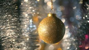 Christmas and New Year Decoration. Abstract Blurred Bokeh Holiday Background. Blinking Garland. stock video footage
